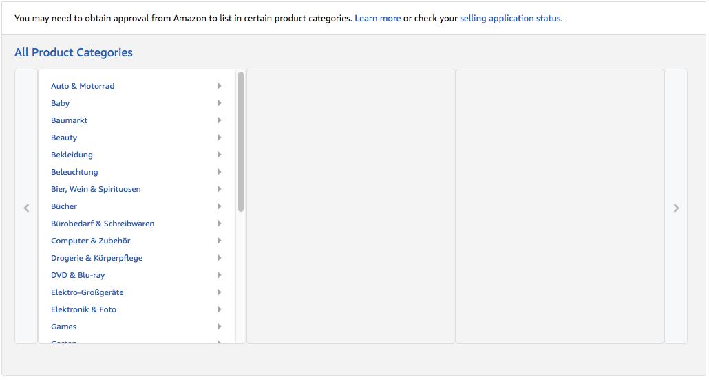 Vælg kategori på Amazon